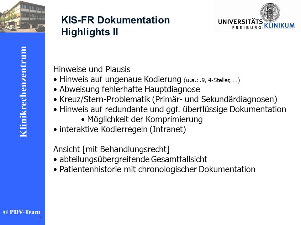 KIS-FR Dokumentation Highlights II Hinweise und Plausis