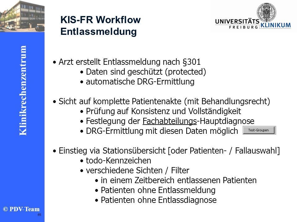 KIS-FR Workflow Entlassmeldung Arzt erstellt Entlassmeldung nach §301