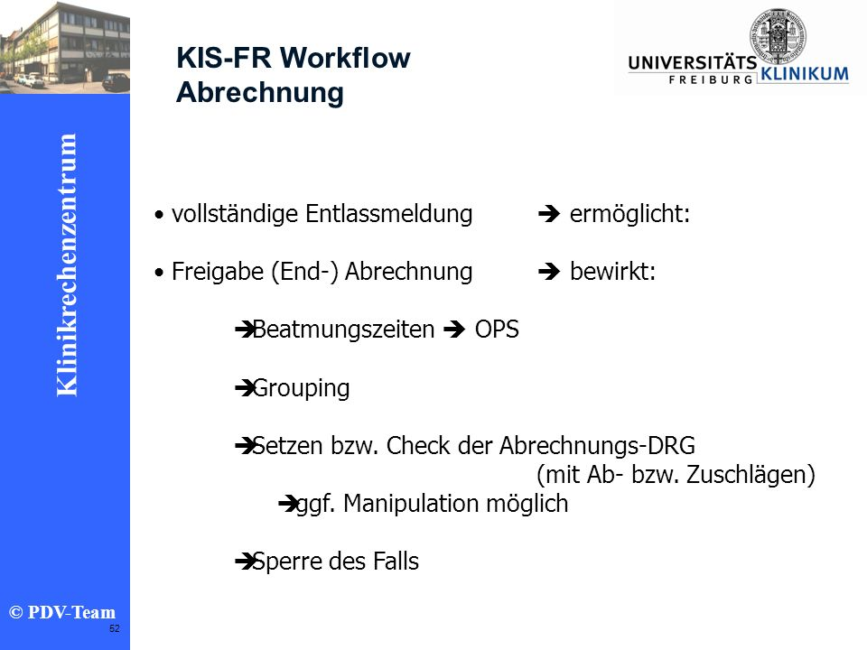 KIS-FR Workflow Abrechnung vollständige Entlassmeldung  ermöglicht: