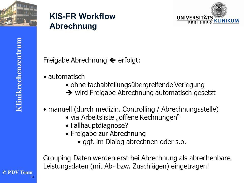 KIS-FR Workflow Abrechnung Freigabe Abrechnung  erfolgt: automatisch