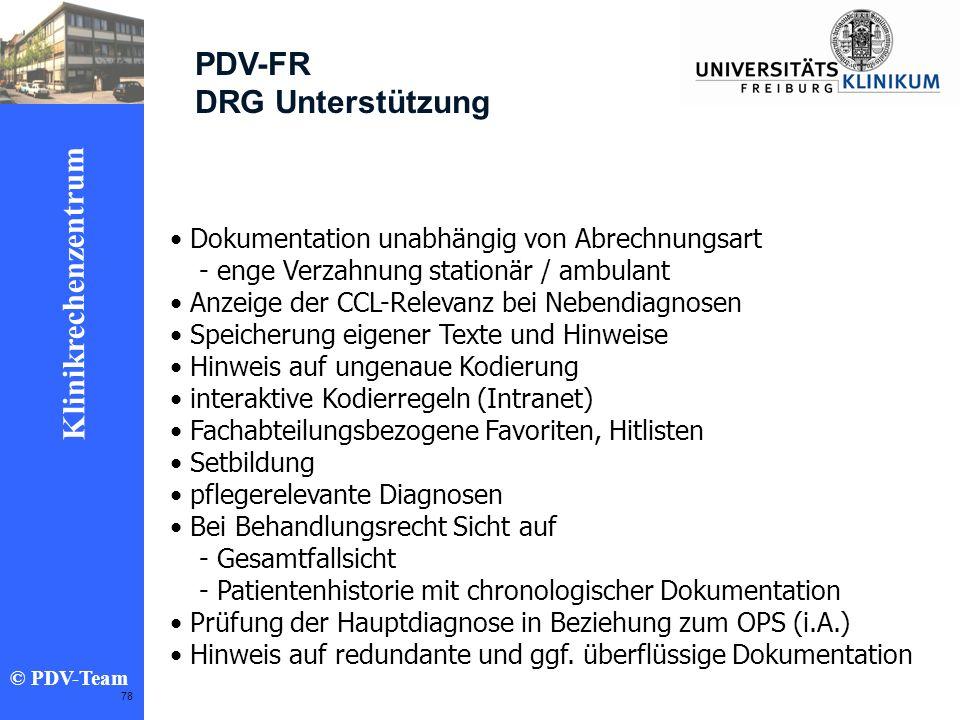 PDV-FR DRG Unterstützung Dokumentation unabhängig von Abrechnungsart