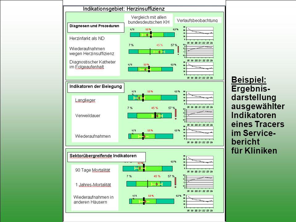 Beispiel: Ergebnis- darstellung. ausgewählter. Indikatoren. eines Tracers. im Service- bericht.