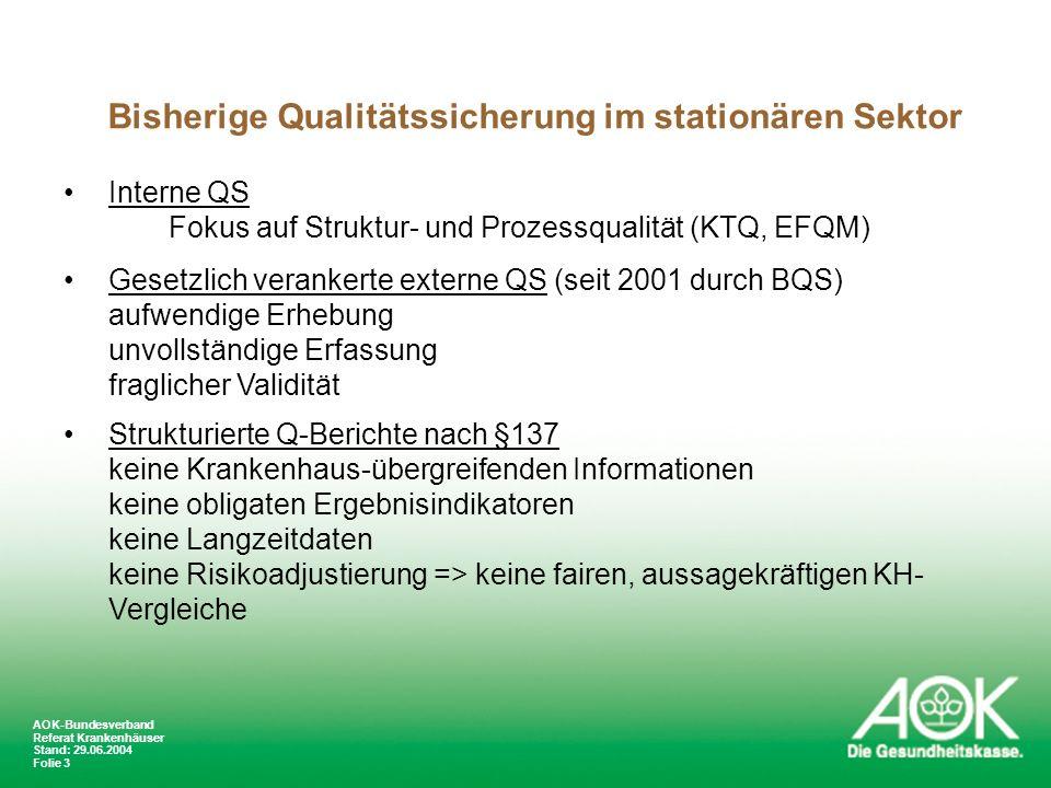 Bisherige Qualitätssicherung im stationären Sektor