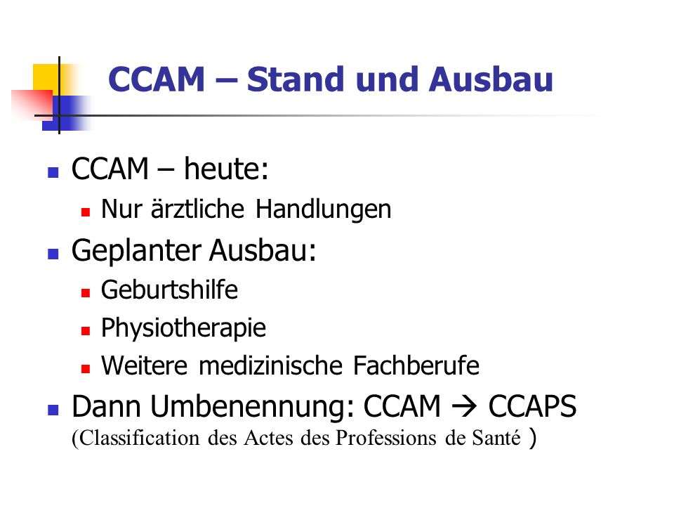 CCAM – Stand und Ausbau CCAM – heute: Geplanter Ausbau: