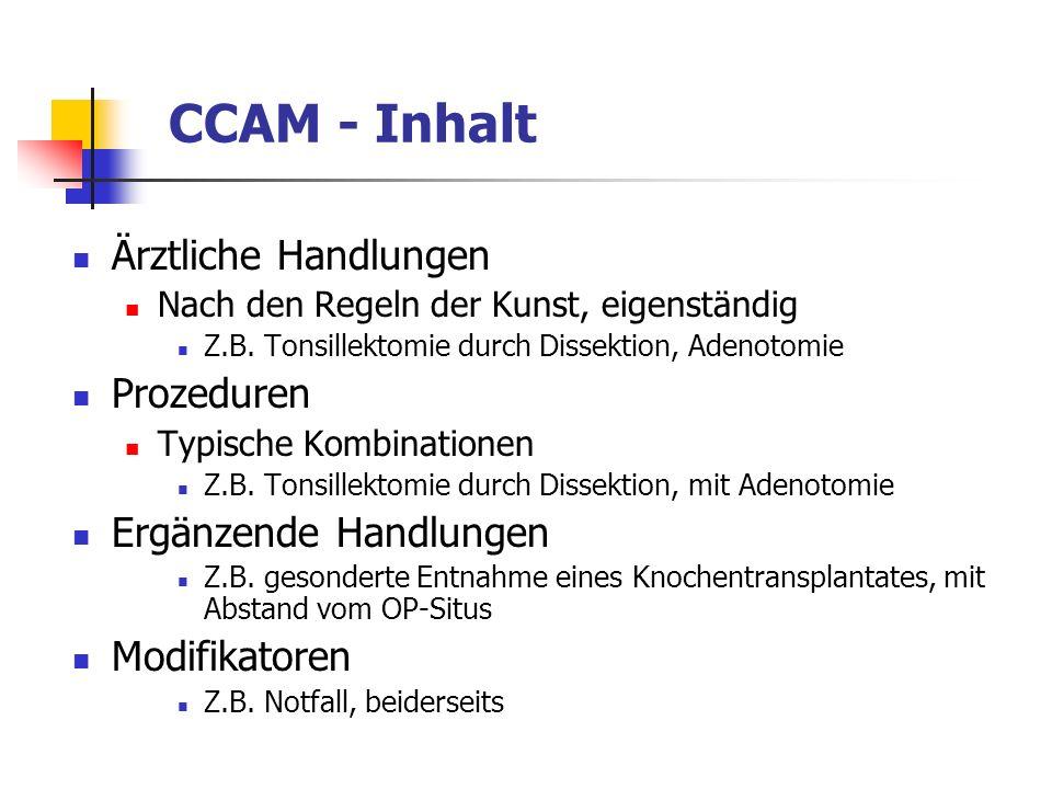 CCAM - Inhalt Ärztliche Handlungen Prozeduren Ergänzende Handlungen