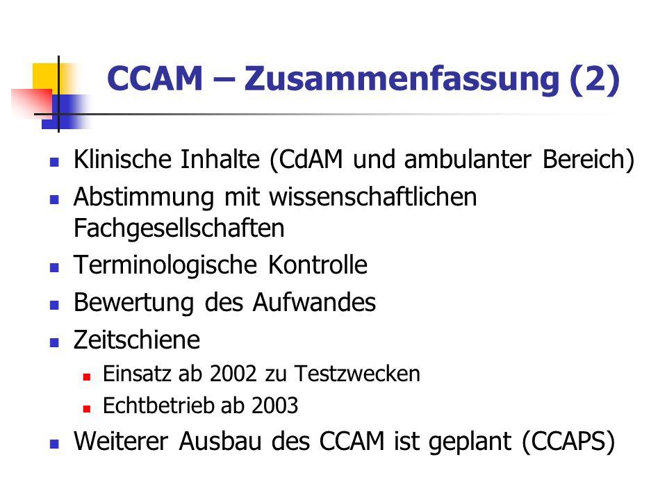 CCAM – Zusammenfassung (2)