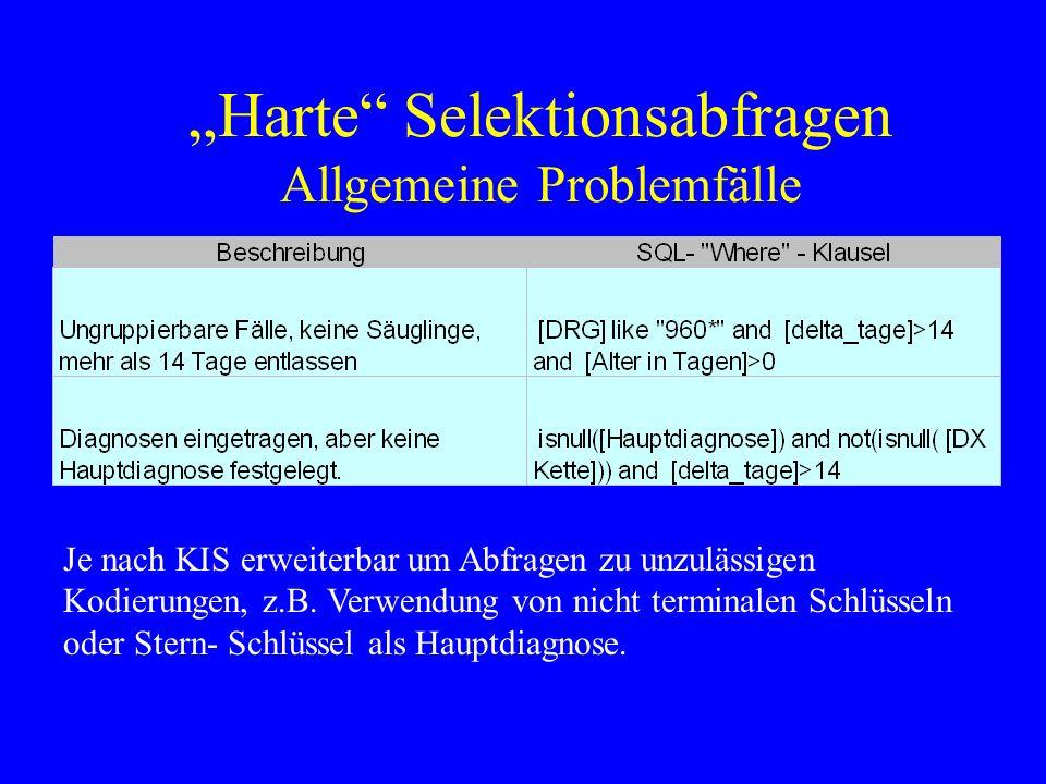 """""""Harte Selektionsabfragen Allgemeine Problemfälle"""