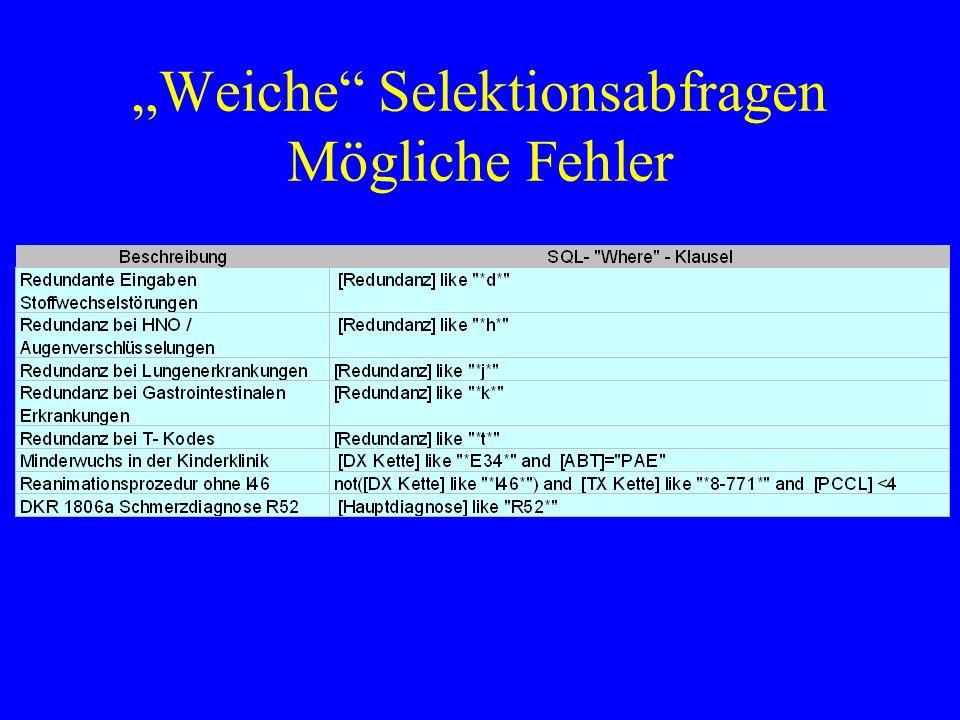 """""""Weiche Selektionsabfragen Mögliche Fehler"""