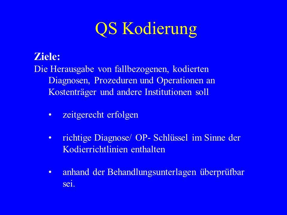 QS Kodierung Ziele: Die Herausgabe von fallbezogenen, kodierten Diagnosen, Prozeduren und Operationen an Kostenträger und andere Institutionen soll.