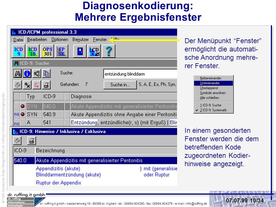 Diagnosenkodierung: Mehrere Ergebnisfenster