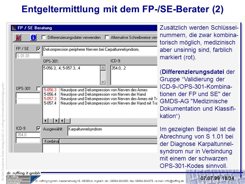 Entgeltermittlung mit dem FP-/SE-Berater (2)