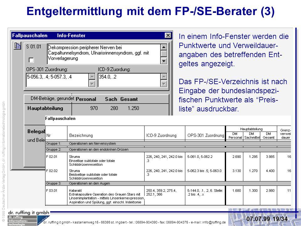 Entgeltermittlung mit dem FP-/SE-Berater (3)