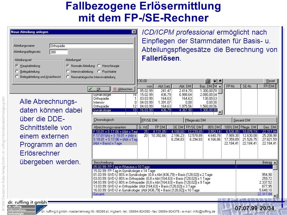 Fallbezogene Erlösermittlung mit dem FP-/SE-Rechner