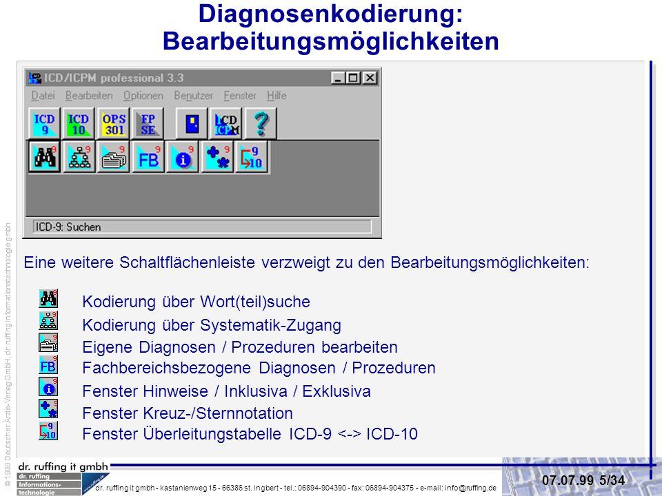Diagnosenkodierung: Bearbeitungsmöglichkeiten