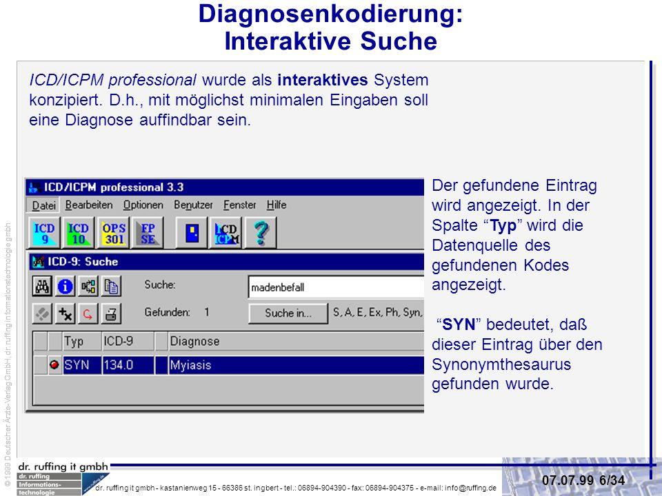 Diagnosenkodierung: Interaktive Suche