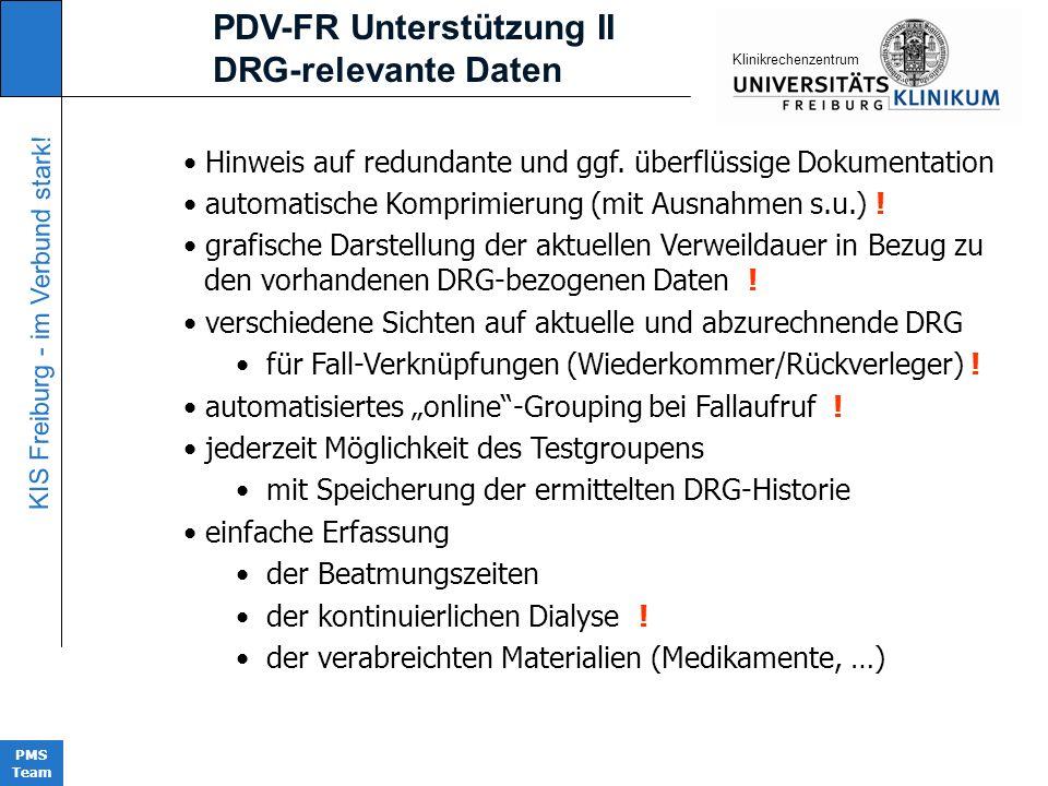 PDV-FR Unterstützung II DRG-relevante Daten