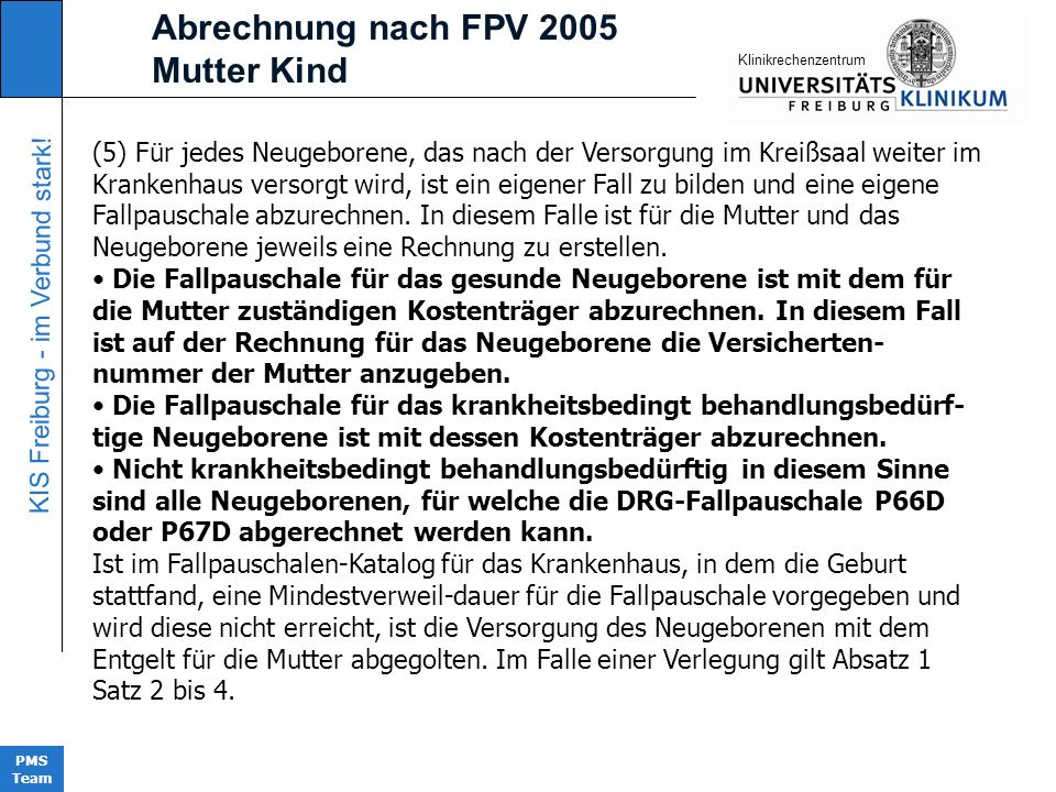 Abrechnung nach FPV 2005 Mutter Kind