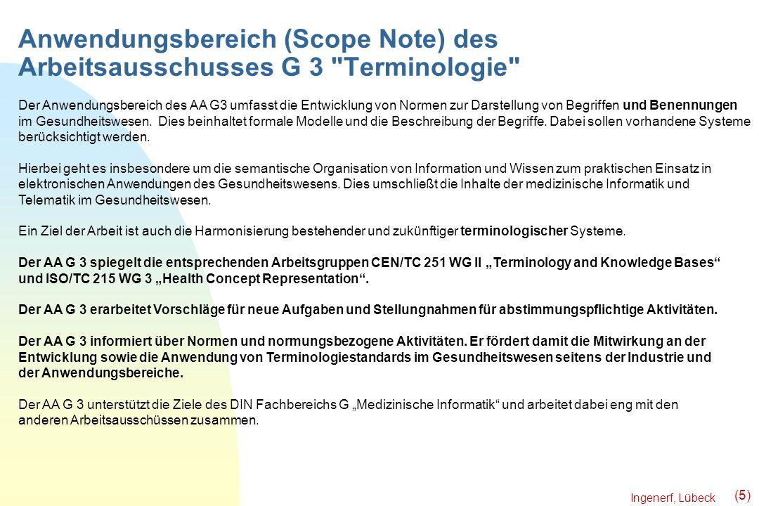 Anwendungsbereich (Scope Note) des Arbeitsausschusses G 3 Terminologie