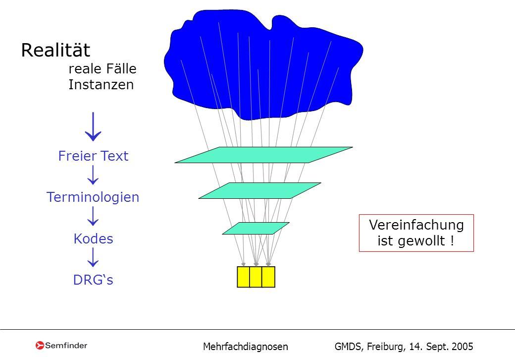  Realität reale Fälle Instanzen Freier Text Terminologien Kodes DRG's