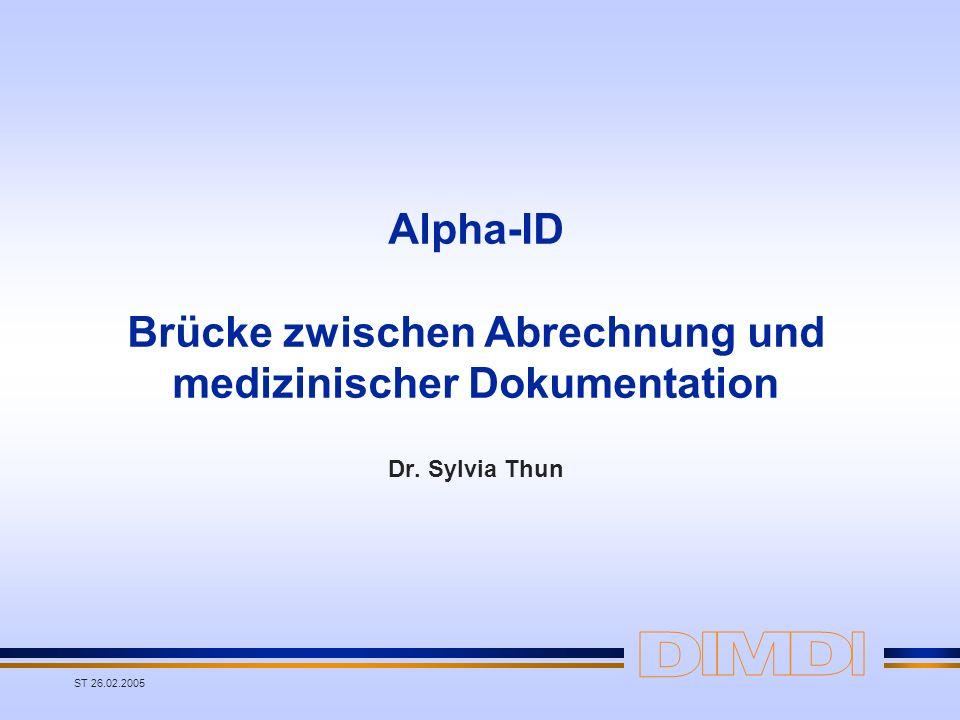 Alpha-ID Brücke zwischen Abrechnung und medizinischer Dokumentation