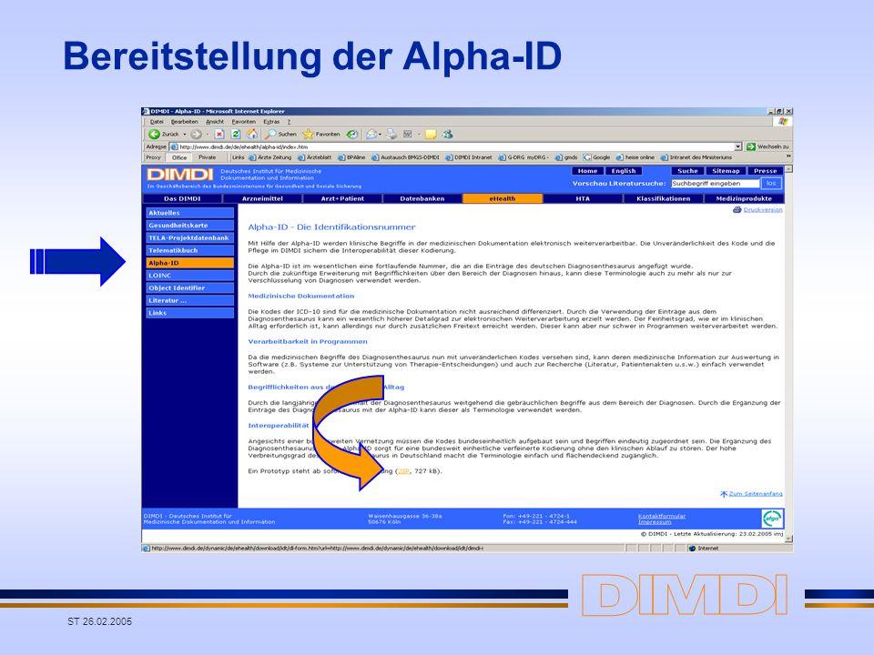 Bereitstellung der Alpha-ID
