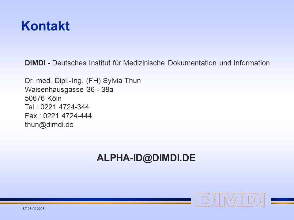 Kontakt ALPHA-ID@DIMDI.DE