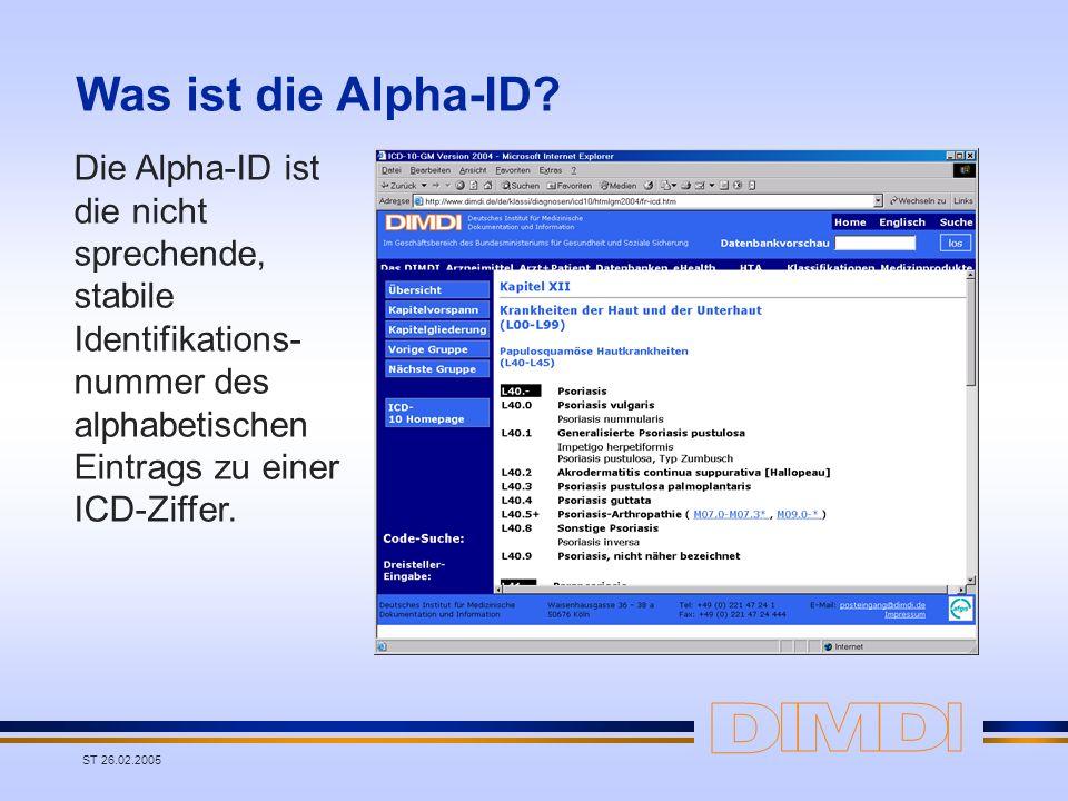 Was ist die Alpha-ID Die Alpha-ID ist die nicht sprechende, stabile