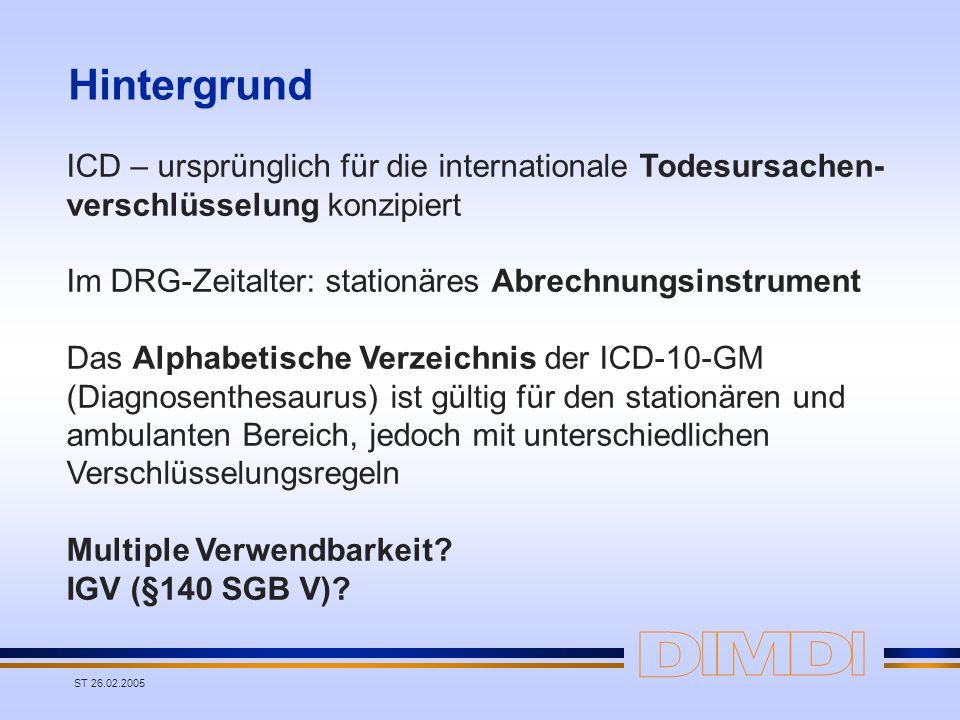 HintergrundICD – ursprünglich für die internationale Todesursachen- verschlüsselung konzipiert.