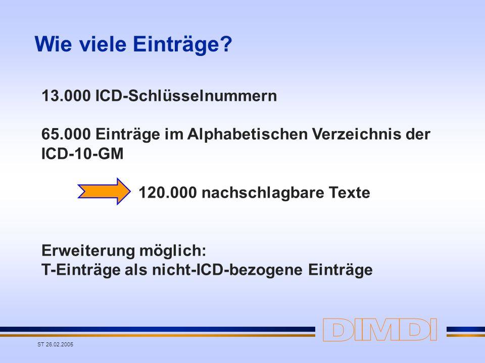 Wie viele Einträge 13.000 ICD-Schlüsselnummern
