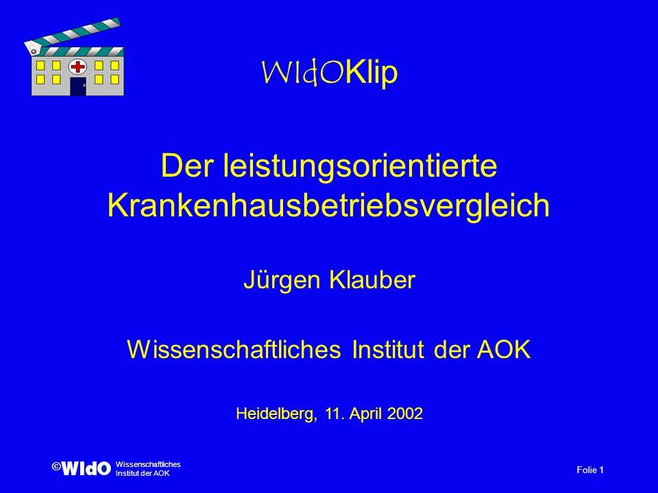 Der leistungsorientierte Krankenhausbetriebsvergleich Jürgen Klauber