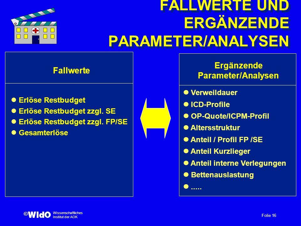 FALLWERTE UND ERGÄNZENDE PARAMETER/ANALYSEN