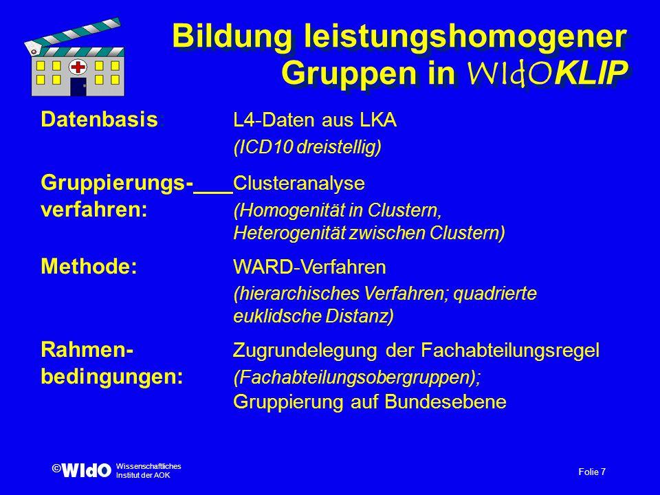 Bildung leistungshomogener Gruppen in WIdOKLIP