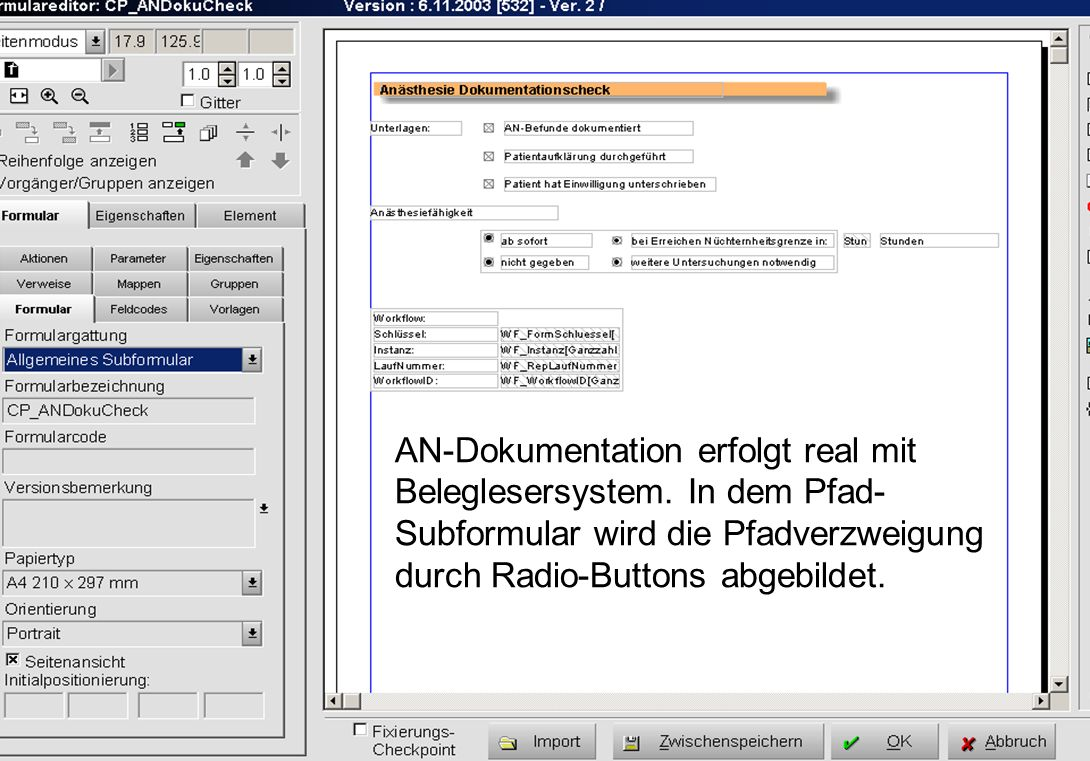 AN-Dokumentation erfolgt real mit Beleglesersystem
