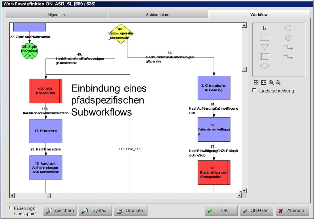 Einbindung eines pfadspezifischen Subworkflows