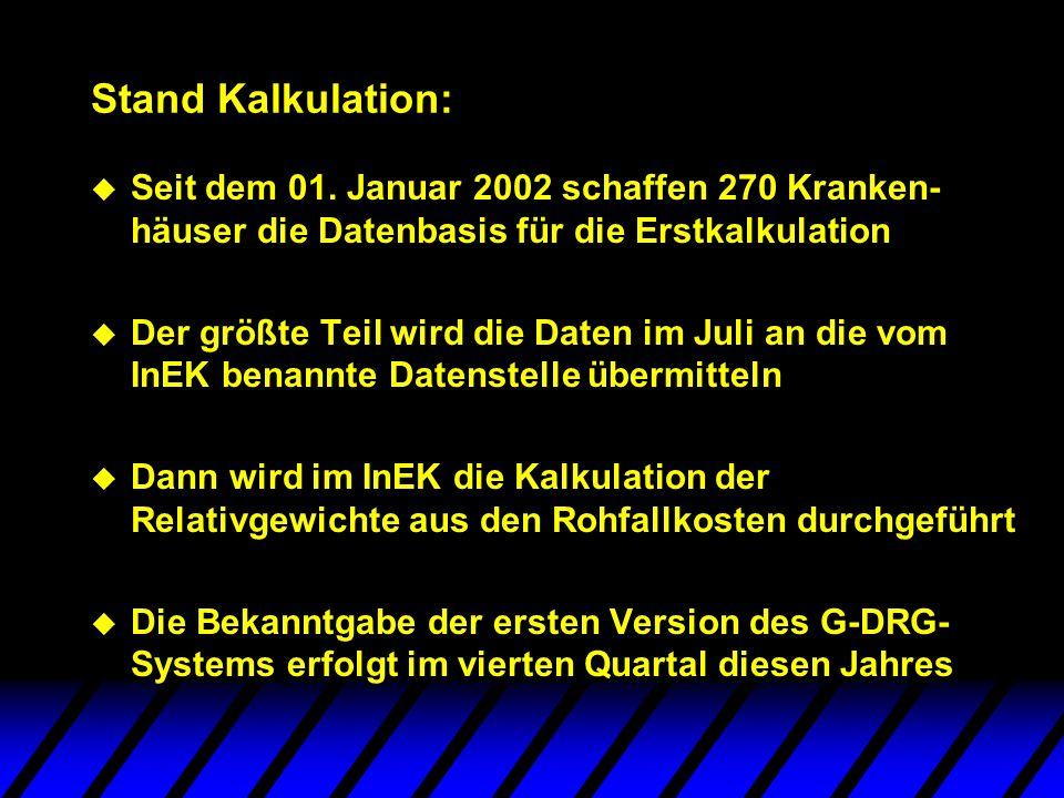 Stand Kalkulation: Seit dem 01. Januar 2002 schaffen 270 Kranken-häuser die Datenbasis für die Erstkalkulation.