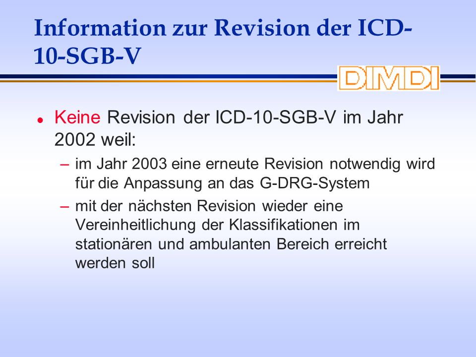 Information zur Revision der ICD-10-SGB-V