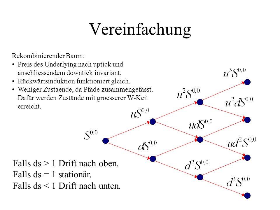 Vereinfachung Falls ds > 1 Drift nach oben. Falls ds = 1 stationär.