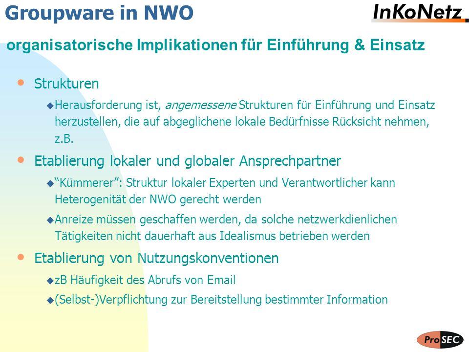 Groupware in NWO organisatorische Implikationen für Einführung & Einsatz. Strukturen.