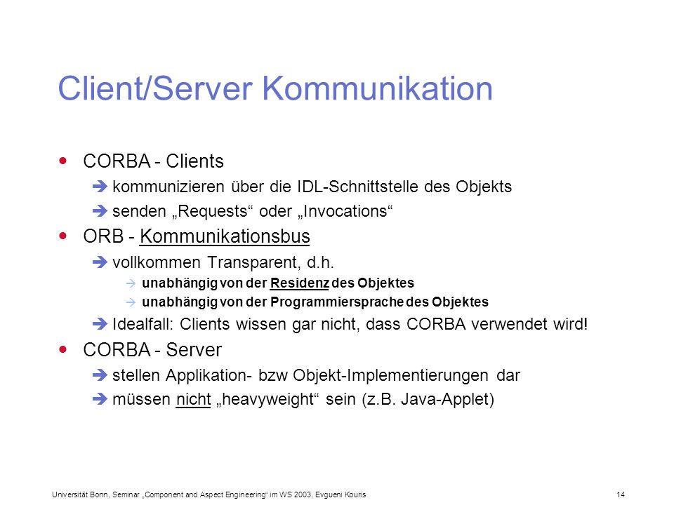 Client/Server Kommunikation