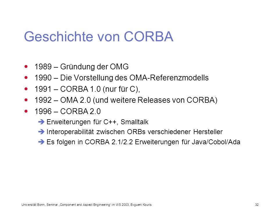 Geschichte von CORBA 1989 – Gründung der OMG