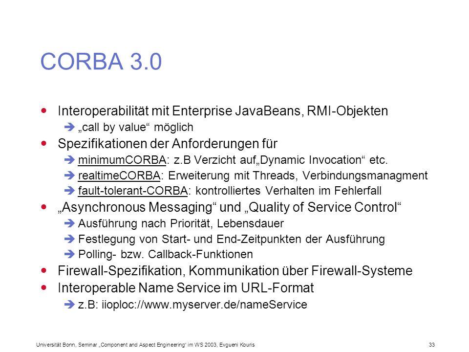CORBA 3.0 Interoperabilität mit Enterprise JavaBeans, RMI-Objekten