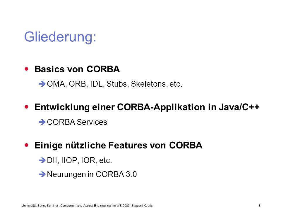 Gliederung: Basics von CORBA