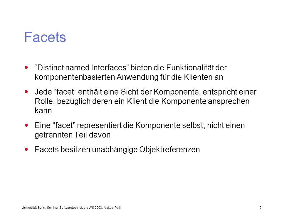Facets Distinct named Interfaces bieten die Funktionalität der komponentenbasierten Anwendung für die Klienten an.
