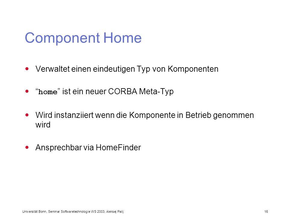 Component Home Verwaltet einen eindeutigen Typ von Komponenten