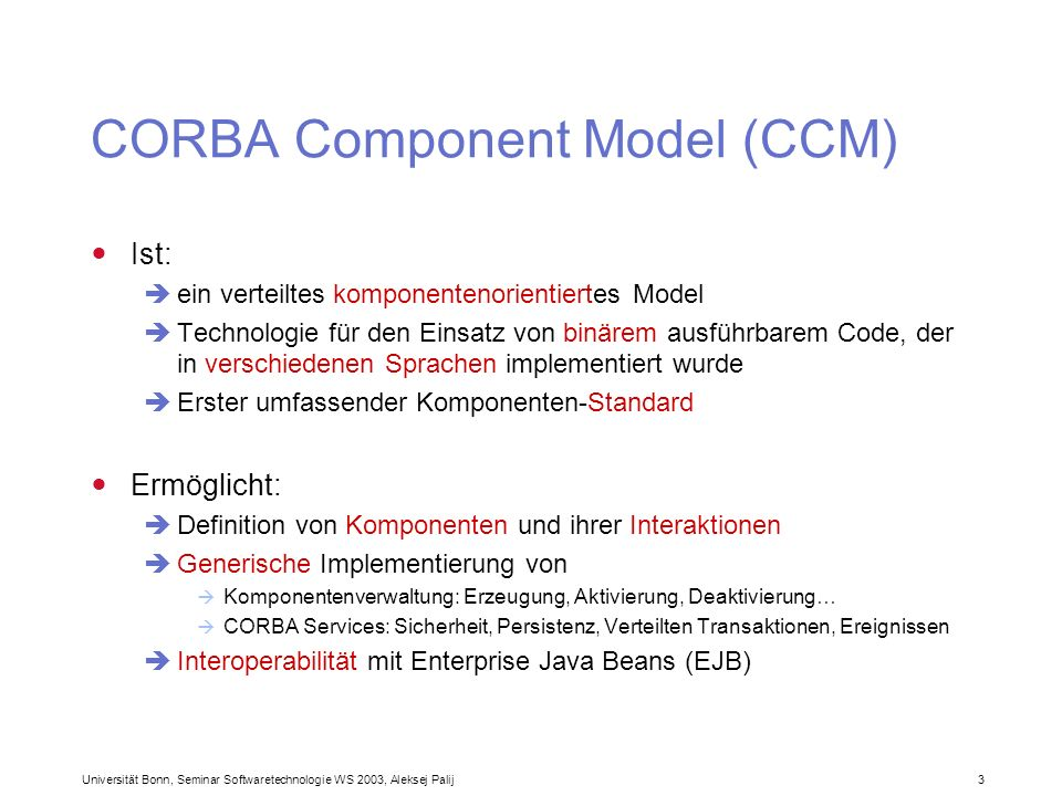 CORBA Component Model (CCM)