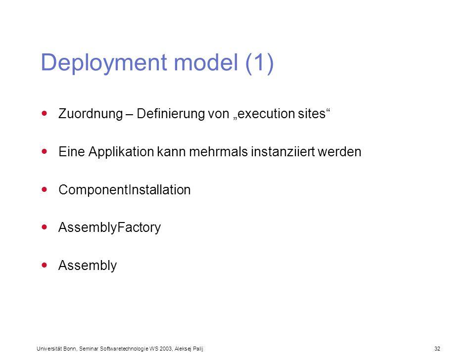 """Deployment model (1) Zuordnung – Definierung von """"execution sites"""