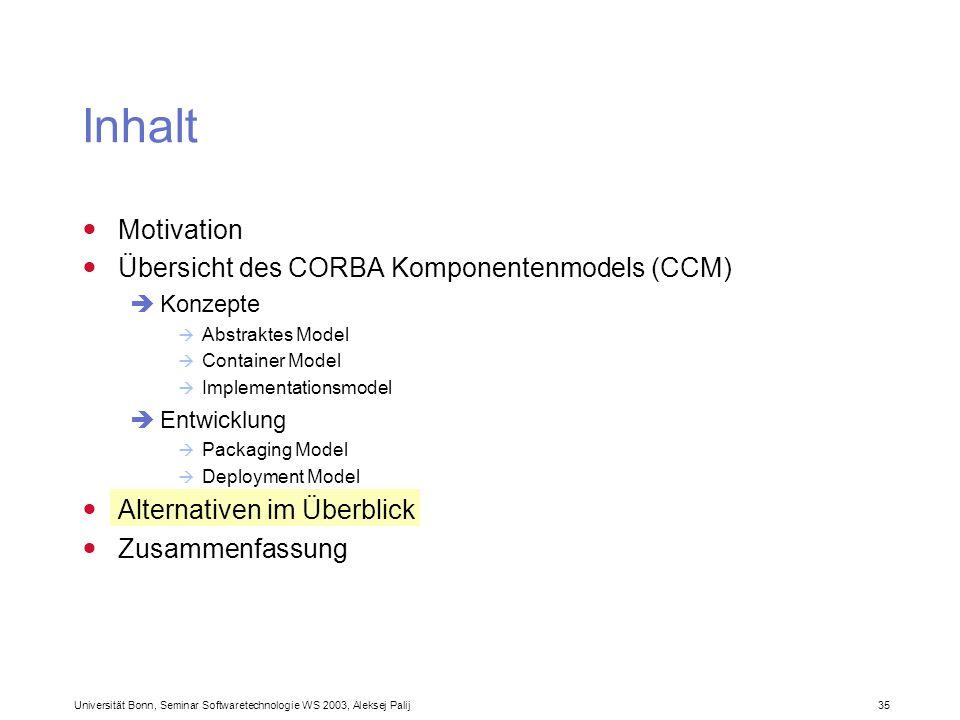 Inhalt Motivation Übersicht des CORBA Komponentenmodels (CCM)