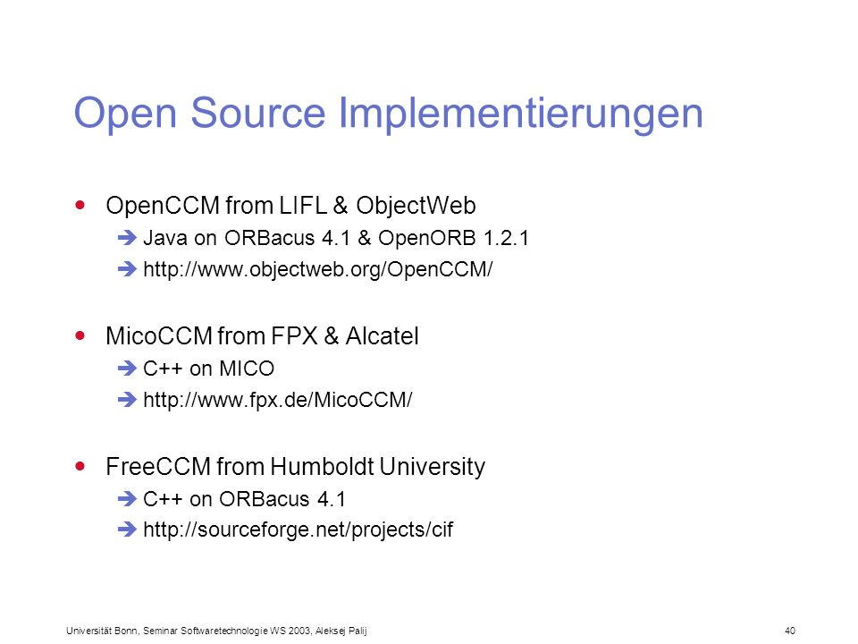 Open Source Implementierungen