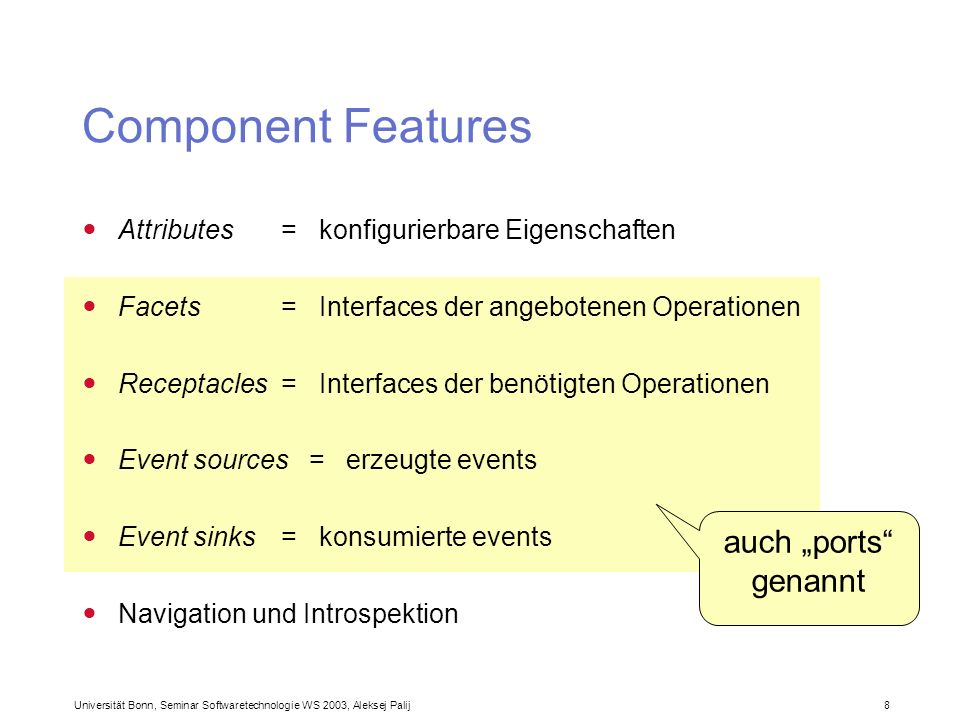 "Component Features auch ""ports genannt"
