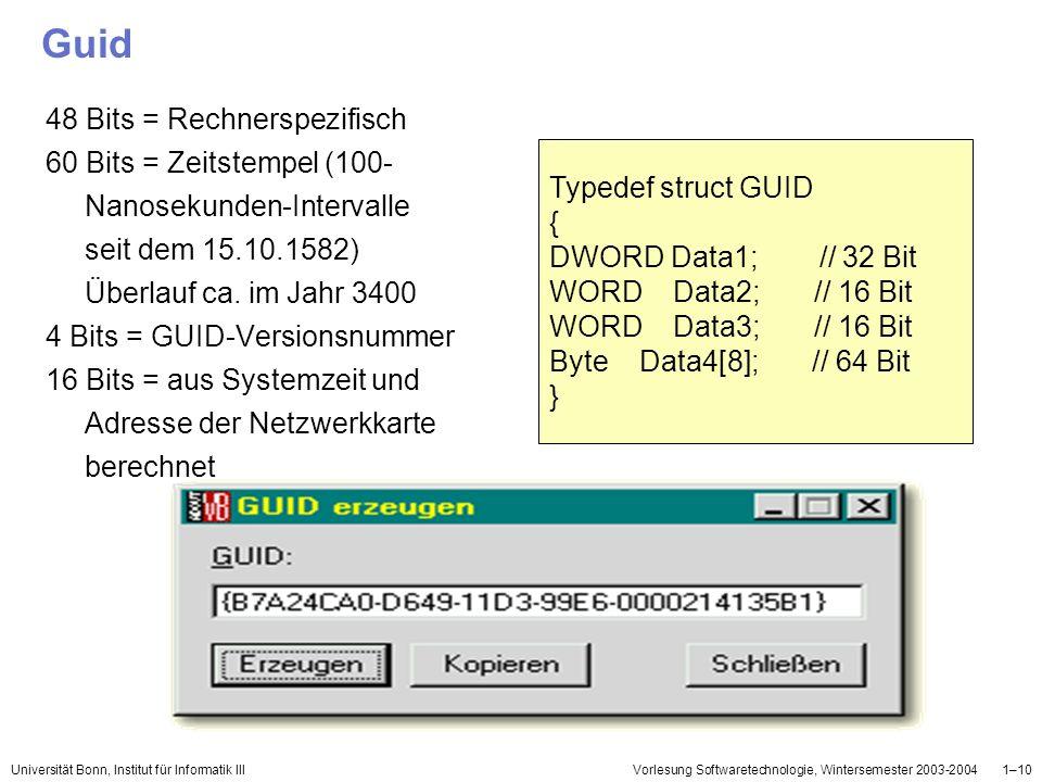 Guid 48 Bits = Rechnerspezifisch 60 Bits = Zeitstempel (100-